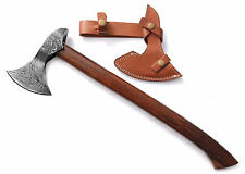 Custom made Damascus Steel Axe - Gorgeous and Solid Hard ROSE Wood Handle