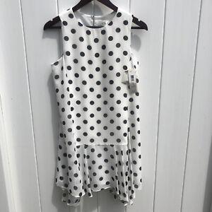 Eliza J Women's Crew Neck Sleeveless Polka Dot Dress White Black Ruffle Hem 4