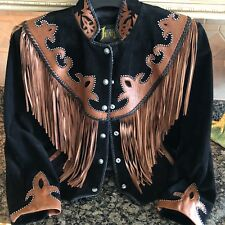 Diamond Leathers Western/Cowgirl/Jacket Fringe Bead Work Black/Brown Sz 12 Mint!