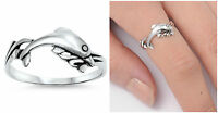 Sterling Silver 925 PRETTY DOLPHIN DESIGN SILVER RING 9MM SIZES 3-9