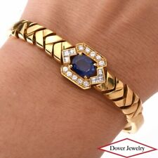 Estate Diamond Blue Sapphire 18K Yellow Gold Link Bangle Bracelet 18.9 Grams NR