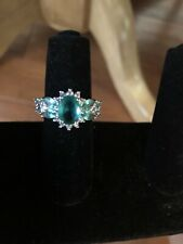 Zirconia Fashion Ring size 7 Silver Teal and White Cubic