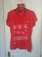 Christmas Red Prosecco Ladies T-Shirt & Earrings Set - Size 12