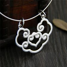 Pure S990 Sterling Silver Hollow Lucky Clouds Ruyi Lock Pendant