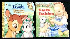 Bambi - Opossum Problem & Farm Babies - 2 Golden Books Super Shape Both Like New