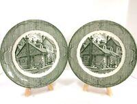 "2-VTG The Old Curiosity Shop  Dinner Plate 10"" Green CURRIER & IVES Royal China"