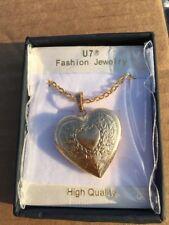 U7 18K Plated Charm Necklaces Heart Pendant Photo Locket Necklace Pendants