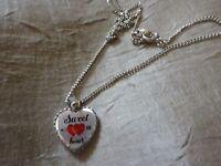 Halskette Kette Perlen silber farben Anhänger Herz rot Sweet Heart  NEU ++