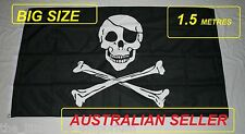 Big 1.5 Metre Skull & Crossbone Jolly Roger Large New Flag 3x5ft - Pirate Ship