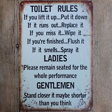 Metal Tin Sign TOILET RULES Decor Bar Pub Home Vintage Retro Poster Cafe ART