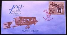 Mexico 2010 FDC 100 Years Planes Braniff Airspace Aircraft Flight Voisin XF