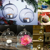 12x Crystal Glass Christmas Hanging Candle Tea Light Holders Wedding Decor 10cm