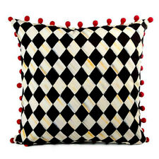 """Mackenzie Childs Courtly Harlequin Red Pom Pom Cotton Linen Pillow 20""""X20"""" NEW"""