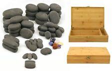 MassageMaster HOT STONE MASSAGE SET: 70 Basalt/Chakra Stones in Bamboo Box