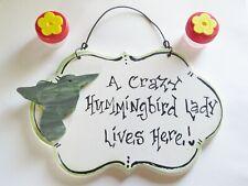 Hummingbird Sign & two Handheld Hummingbird Feeders