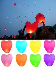 24 Heart Shape Paper Chinese Lanterns Sky Fly Candle Lamp for Wish Party Wedding