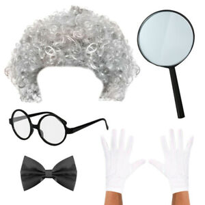 MAD SCIENTIST COSTUME KIDS PROFESSOR WIG GLASSES GLOVES FANCY DRESS BOYS GIRLS