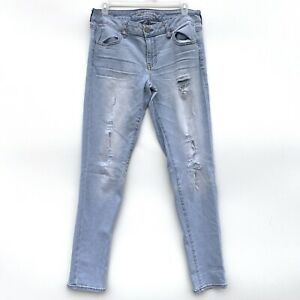 American Eagle Outfitters Jegging Jeans Super Stretch Distressed Denim Size 10