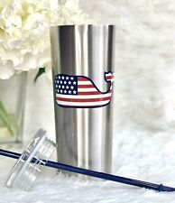 Vineyard Vines for Target Flag Whale Lidded Cup Tumbler Silver 22.5oz SOLD OUT