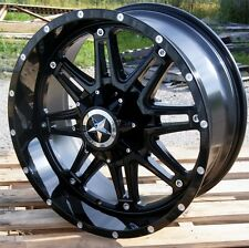 "20"" Black Lonestar Outlaw Wheels Dodge Ram Truck Jeep Wrangler 20x9 5 lug Rims"