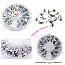 Diamante Rhinestone Nail Art Decoration 3D Gems Crystals Charm POINTED UK SELLER