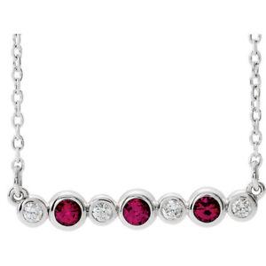 "Genuine Ruby & .08 CTW Diamond Bezel Set Bar 16-18"" Necklace In Platinum"