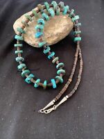 Navajo Native American Turquoise  Shell Heishi Sterling Silver Bead Necklace 762