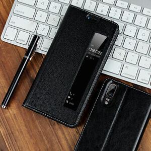 Luxury Genuine Leather Smart Sleep Window Flip Case Cover For Huawei P20/P20 Pro