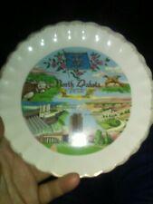 Vintage 7 In North Dakota Collector Plate Gold Trim