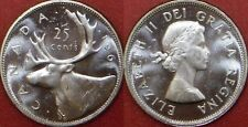 Brilliant Uncirculated 1961 Canada Silver 25 Cents From Mint's Roll