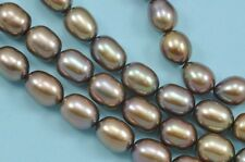 8-9mm Bronze Brown Rice Oval Teardrop Freshwater Pearls Beads A