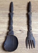 Vintage Egyptian Carved Wooden Utensils Spoon Fork Treen Decorative Wall Hanging