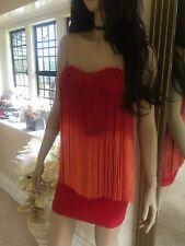 Rare Topshop Red Orange Tassel Fringe Bandeau Mini Party Dress