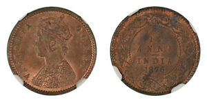 British India 1/12 Anna 1876 (C) KM# 465 NGC Graded MS-64 RB Rare