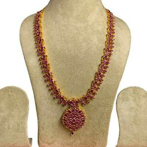 22 Inches Long Ruby Bridal Necklace