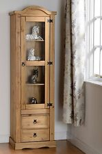 Corona 1 Door 2 Drawer Glass Display Unit  Distressed Waxed Pine/Clear Glass