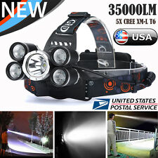 35000 LM 5X CREE XM-L T6 LED Rechargeable Headlamp Headlight Head Torch Lamp US