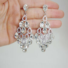 Charming Bridal Tear Drop Flower Dangle Earrings Clear Rhinestone  Crystal