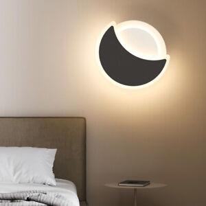 Modern 15W LED Wall Mounted Light Fixture Acrylic Moon Crescent Lamp Bedroom Bar