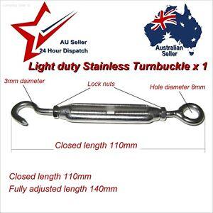 1 x Stainless Steel Light Duty Turnbuckle..    home garden shade cloth eye hook