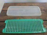 Vintage Tupperware 2pc Replacement Lid & Grid Sheer/jadeite 784 Vegetable Bread