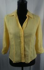 TALBOTS PETITES IRISH LINEN Womans Yellow Button Down Knit Top T Shirt Size P