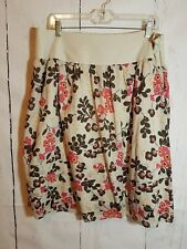 Apostrophe Womens Skirt Sz 18 (Altered) Side Zip Floral Print Lined Beige Brown