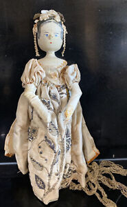 "Original Antique Grodnertal 12"" Wooden Doll Beautifully dressed with Silk Dress"