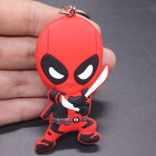 New double sided Fighting Deadpool Soft Rubber Key chain Key ring.