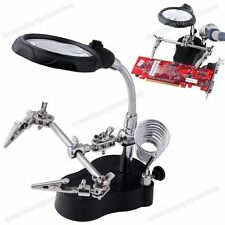 New LED Helping Hand Magnifier Soldering Iron Stand Lens Clamp Good Tool Kit