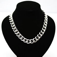 Gorgeous silver tone solid chain necklace choker