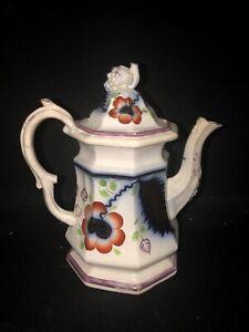 """8 3/4"""" flow blue brushstoke teapot"""