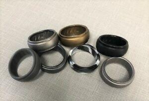 DOOKEH 7-Pc Breathable Mens Silicone Wedding Rings Sz 9 Bronze, Z-Steel, Camo...