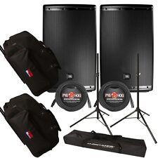 "JBL EON615 15"" Loudspeaker Speaker Pair + Gator Rolling Cases + Stands + Cables"